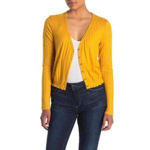 Abound Yellow Pointelle Knit Crop Cardigan L NWT